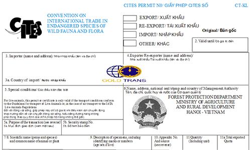 Dịch vụ xin giấy phép CITES nhập khẩu