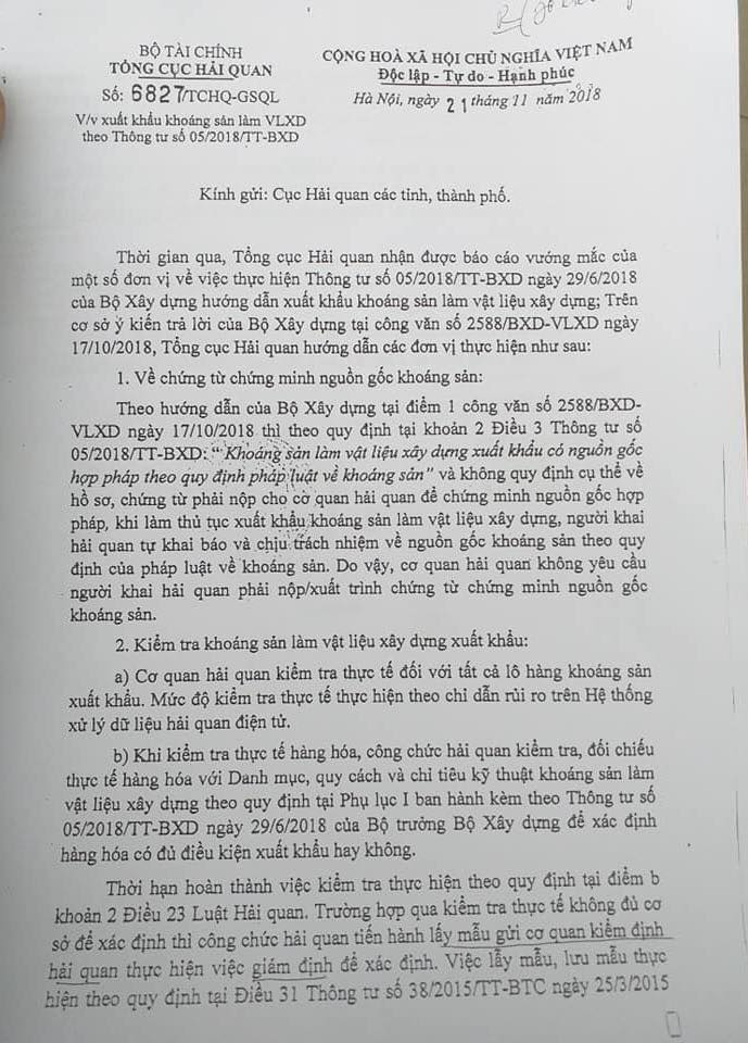 công văn 6827/TCHQ-GSQL