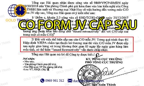 CO form JV cấp sau