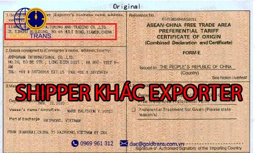 shipper trên Bill khác exporter trên CO
