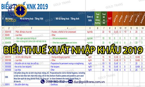biểu thuế xuất nhập khẩu 2019