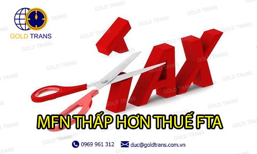 thuế MFN khi chênh lệch với thuế FTA